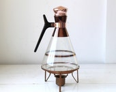 vintage 1960s coffee carafe and warming stand. Mid century atomic modern. Inland Glass Co. 12 cup / the ATOMIC CAFE coffee pot