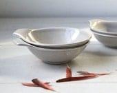 vintage Russel Wright American Modern lug bowls. Set of 2 soup bowls. Granite grey. Mid century modern / the SUBLIME SOUP set