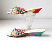vintage 1960s sandals. Size 8. Rainbow slip-ons with colorblock wedge heels / mod beach vegan / the RAINBOW SPRINKLES shoes