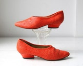 vintage orange shoes. size 6. Early 90s woven leather with geometric heels / avant garde / the ORANGE BIRTHDAY CAKE shoes