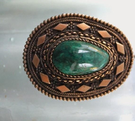 Green m-n-m's brooch pendant, eilat stone in 935 silver
