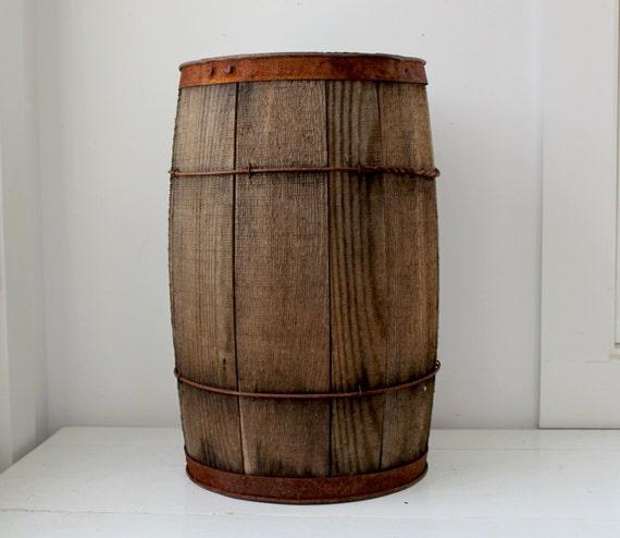 RESERVED for mudfish5. vintage primitive wooden nail barrel. antique, rustic, industrial