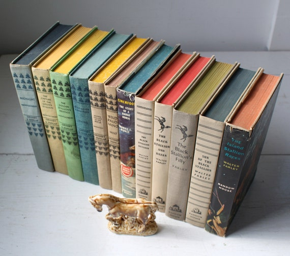 vintage horse books. Black Stallion and more, 40s - 50s. Instant library, 12 book set.
