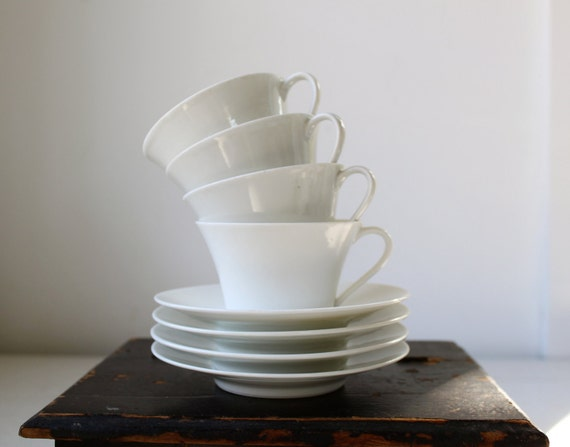 antique white limoges teacups and saucers (Lanternier blanks), set of 2 / art nouveau modern