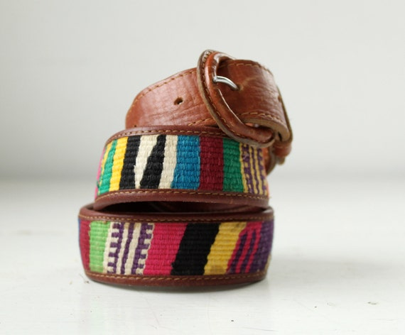 vintage 1980s tapestry and leather belt. size medium. woven multicolor and russet leather, tribal hipster style / the FRIED ICE CREAM belt