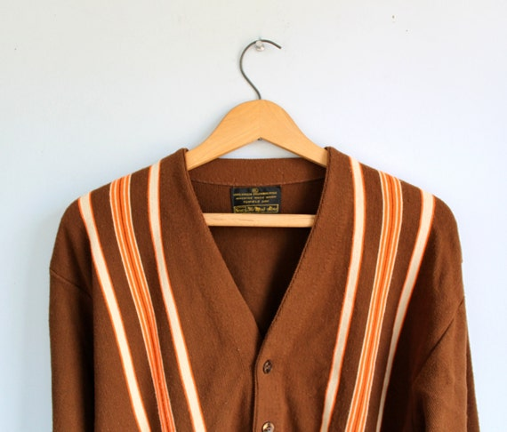 vintage 1960s mod cardigan. men size L / rockabilly three tone, brown with orange and white front stripes / the COLD PABST sweater
