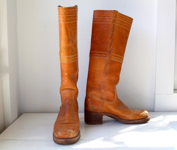 Vintage 1970s Frye Campus Boots Women Size 9 5 B Stitched