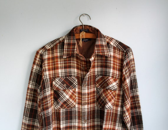 Vintage 1980s flannel shirt. Men small / women med / rustic brown plaid. Big Yank / great for Dad  / the SUB SANDWICH shirt
