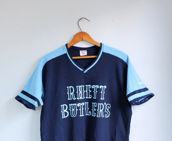 vintage 1980s sports jersey. two tone short sleeve athletic shirt. retro style. unisex L / Rhett Butler