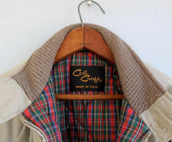vintage 1960s tan jacket by Cal Craft, men's XL. Preppy plaid lining, insulated / the HAM n BISCUITS coat