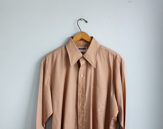 Cyber Monday SALE vintage 1970s men's long sleeve shirt. size 44 / retro mod / the GINGER BEER shirt