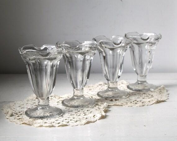 Vintage 1950s Sundae Glasses Set Of 4 By Luncheonettevintage