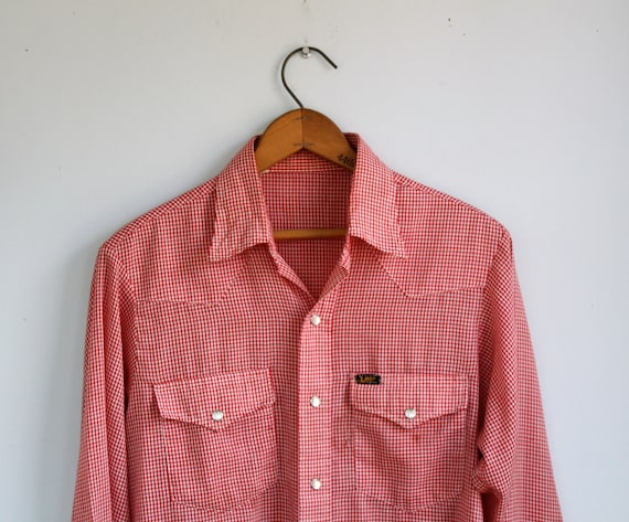 vintage 1970s western shirt. men M / women L. Lee red check gingham, pearl snaps / the HOMEMADE Ketchup shirt