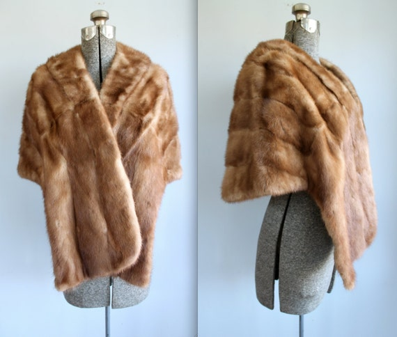 vintage 1950s mink fur stole  / small - large / mid century fifties glam / chestnut honey silver brown / the CHOCOLATIER'S AFFAIR stole