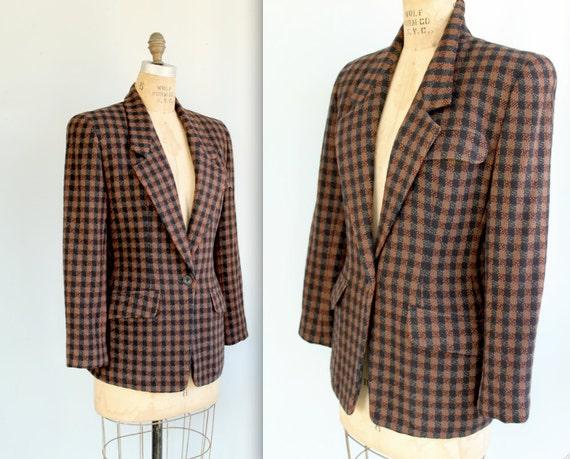 vintage 1970s tweed jacket. Size 4/6. Anne Klein label. Fall colors, authentic designer / equestrian hacking preppy / the CHOCOLATIER blazer