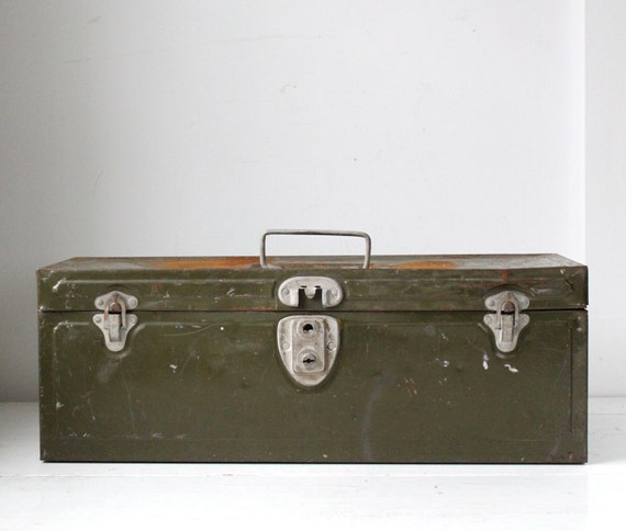 vintage 1950s metal toolbox. industrial storage / olive green / art office camping