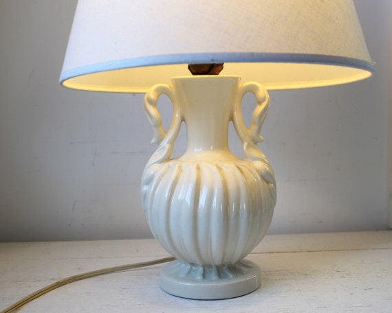 vintage 1940s table lamp. White ceramic with shade. Art Deco Hollywood Regency / the LADIES LUNCHEON table lamp