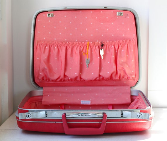 vintage 1960s red suitcase. Samsonite Silhouette. Pink polka dot inside. Cherry red outside. Mod retro. With keys / the COOK ELOPED suitcase