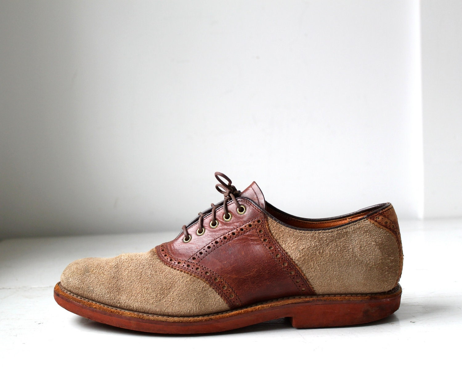 Vintage Saddle Suede Oxfords. Two Tone Tan And Brown Red