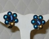 Vintage Blue Pearl Look Clip On Earrings  JAPAN Free Shipping