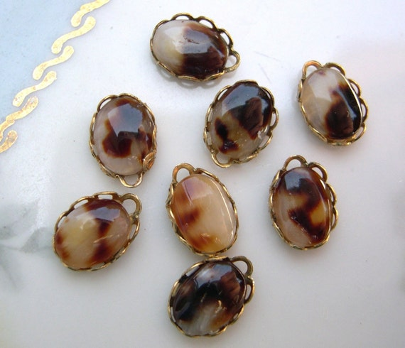 8 vintage tortoise color shell cabochon charms real shell for Real tortoise shell jewelry