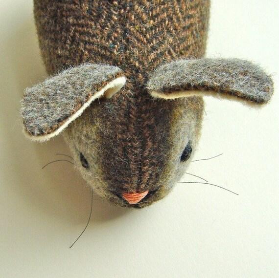 Bunny Rabbit Plush Wool Herringbone - Garden Party Bunny