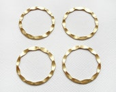 4 Raw Brass Hammered Circles