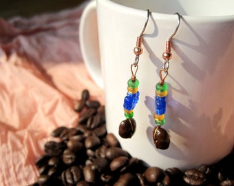 What's a Picnic without Coffee...Authentic Fair Trade Coffee Bean Earrings .. FREE SHIPPING