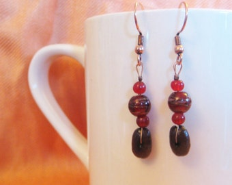 Simply Radishing - Authentic Fair Trade Coffee Bean Earrings .. FREE SHIPPING