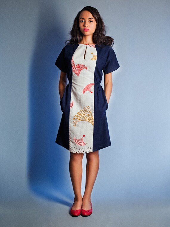 Singapore Air line dress in Navy Linen with African fabric center piece super sale last size