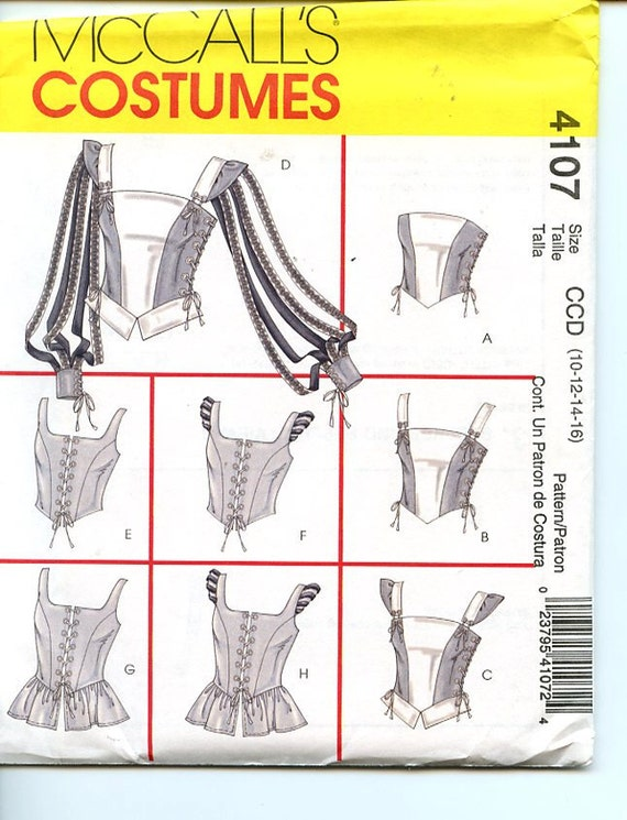 McCall's Costumes Sewing Pattern 4107 Women Renaissance Tops, Corsets with Strap & Peplum Variations UNCUT Sz 10-12-14-16, Bust 32 1/2-38