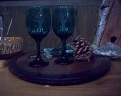 Etched Tree on Green Wine Glasses