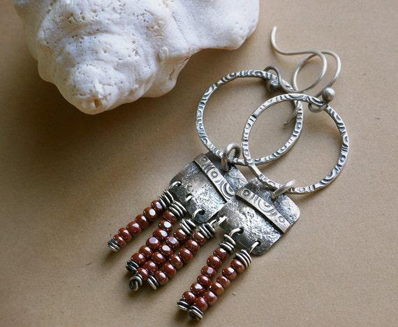 Stamped Sterling Silver Hoop Fringe Dangle Earrings . Rustic Eclectic Southwest Boho Tribal Inspired Jewelry