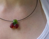 Lampworked Glass Sour Cherry Pendant