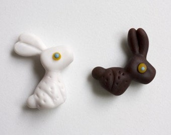 Lampworked Chocolate Easter Bunny Pendant