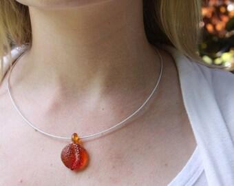 SALE - Sour Peach Pendants - Lampworked Glass