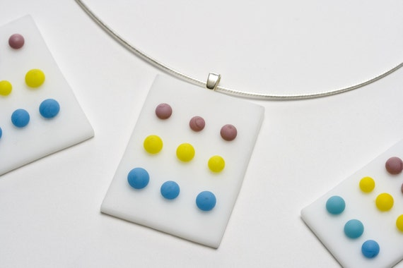 SALE - Candy Button Pendant - Fused Glass