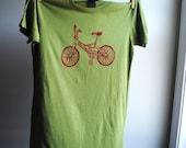 BMX Bike TShirt - Olive Green with Red Screen Printed Ink, Womens Medium