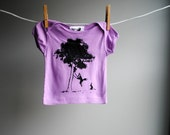 Storybook Fox and Rabbit, 2 Friends with a Tree Swing - Organic TShirt - Hand Dyed Lilac and screen printed in black ink -  sized 3-6 month