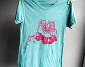 RESERVED FOR L ............................Roller Skate Burnout  T-Shirt,  Jade with Pink Ink, sized Women S