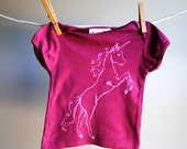 Unicorn Organic Infant T-Shirt,  Hand Dyed Mulberry and screen printed with Pink Ink, sized 3 to 6 month