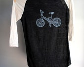 BMX Bike - Baseball Style Burnout Shirt - Natural and Black screen printed in Light Blue ink - 3/4 sleeves - Unisex Extra Large