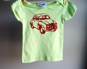 1972 Saab Organic Shirt, Hand Dyed Spring Spring Green and Screen Printed with Red Ink, sized 12 to 18 month