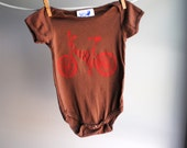 BMX Bike Organic Infant Bodysuit-- Hand Dyed Cocoa Brown and screen printed in Red ink - 6 to 12 months