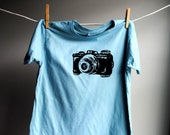 Vintage Camera T-Shirt, Organic - Sized 12 youth - Hand Dyed Sky Blue with Black Screen Printed Ink