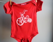 Big Wheel Organic Infant Bodysuit, 12 to 18 months,  Hand Dyed Red  with White Screen Printed  Ink