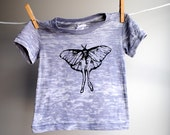 Luna Moth Burnout T-Shirt - Hand Dyed  Greyish Purple with Black Screen Printed Ink - sized 6 to 12 month