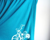 Big Wheel - Women's Babydoll Shirt, Teal  Green and Screen Printed in White Ink - Women's medium