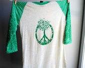 Peace Tree of Life - Baseball Style Burnout Shirt - Kelly Green and Natural - 3/4 sleeves - Unisex Small