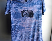 Vintage Camera T-Shirt - Burnout - Over Dyed Wild Berry with Black Ink - Women's size Extra Large
